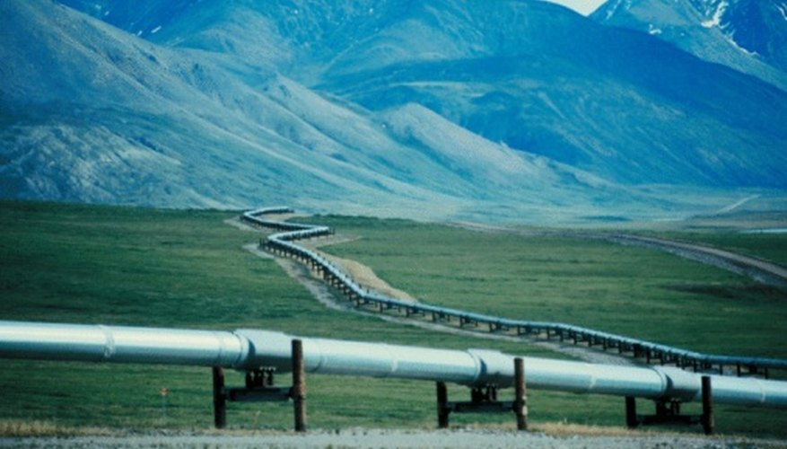 A picture of the Trans-Alaska Pipeline, one of the human uses of the tundra north of the Brooks Range.