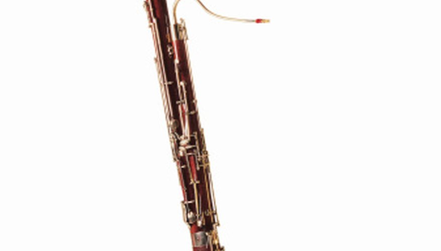 Bassoons are long, double-reeded woodwinds.