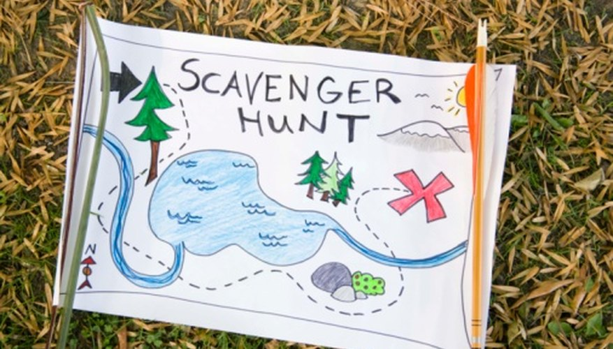 A scavenger hunt starts with a map and some riddles.