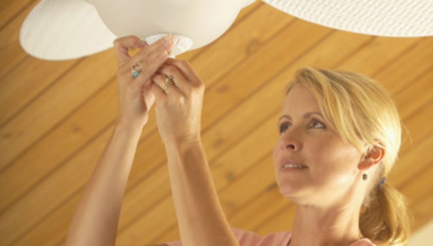 Remove the glass globes from your ceiling fan for use in crafts.