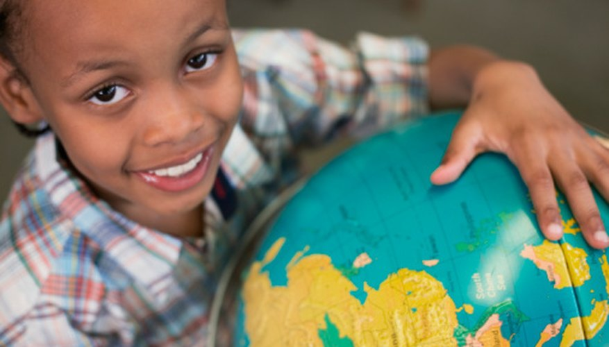 Learners can use a globe to help them retain information on latitude and longitude.