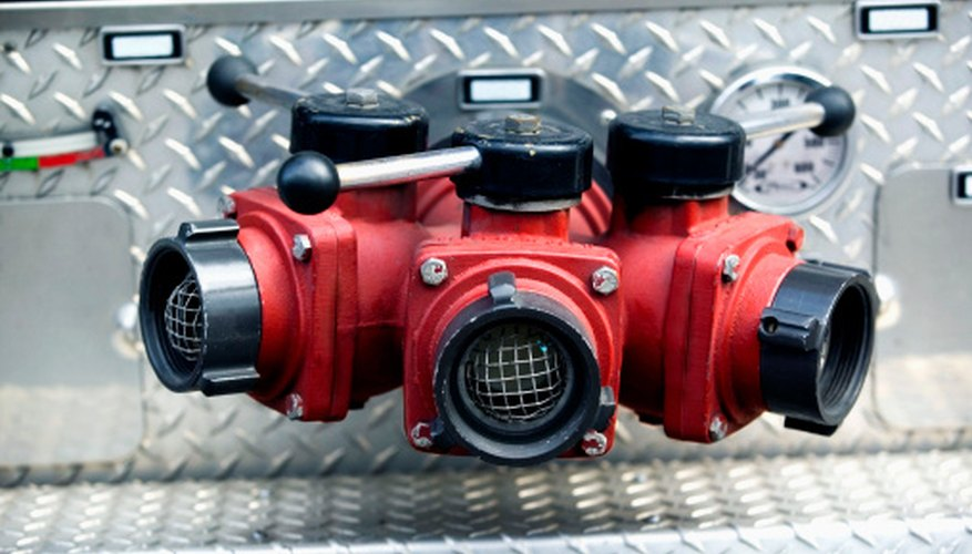 The ball valves on this fire truck are used to turn water flow off and on.