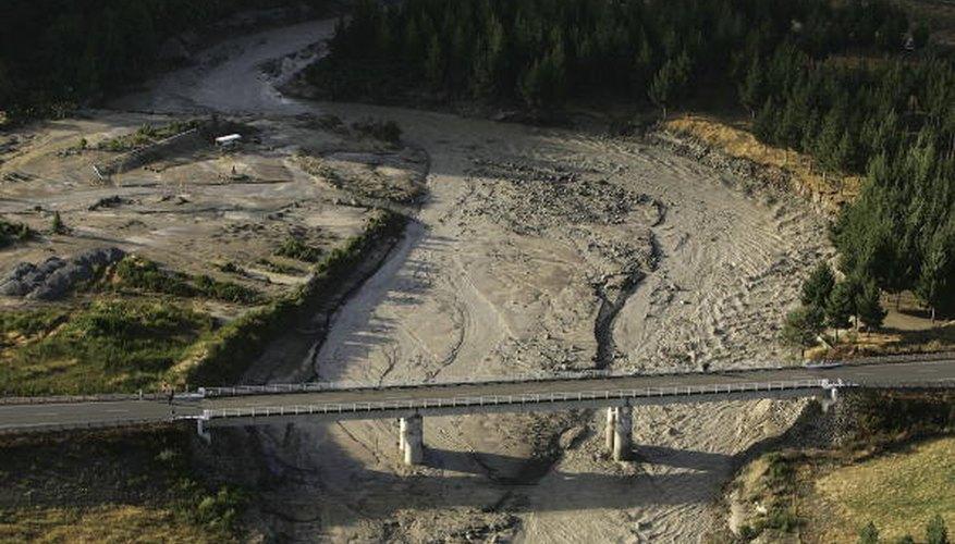 Lahar flows down a riverbed.