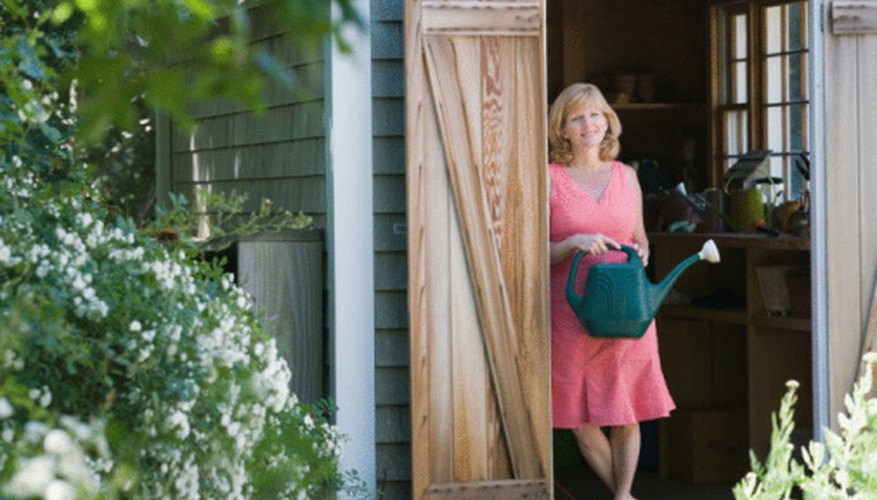Create an attractive entryway for your garden shed.