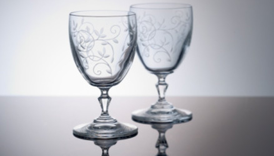 Etched stemware often has flower designs.
