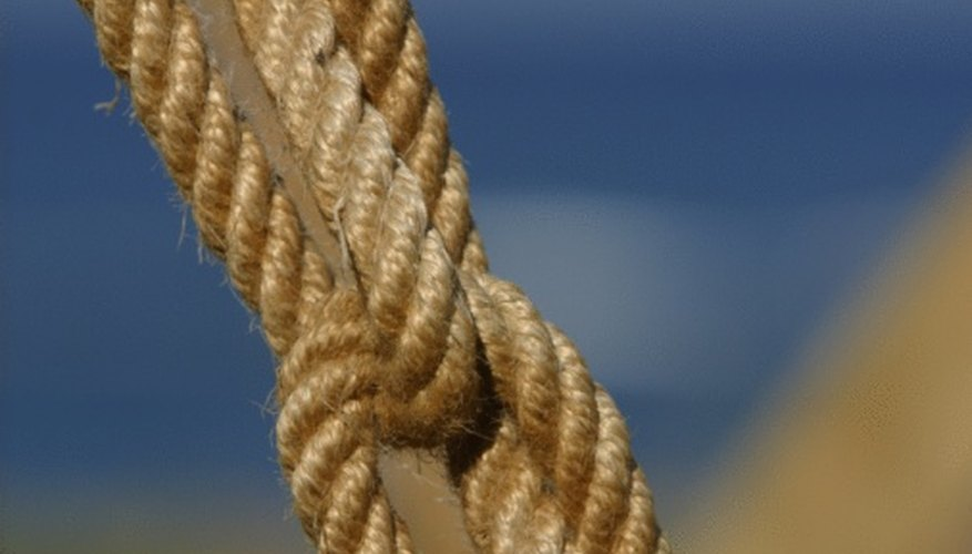 A tight knot is needed to bind two strings or ropes for weaving.