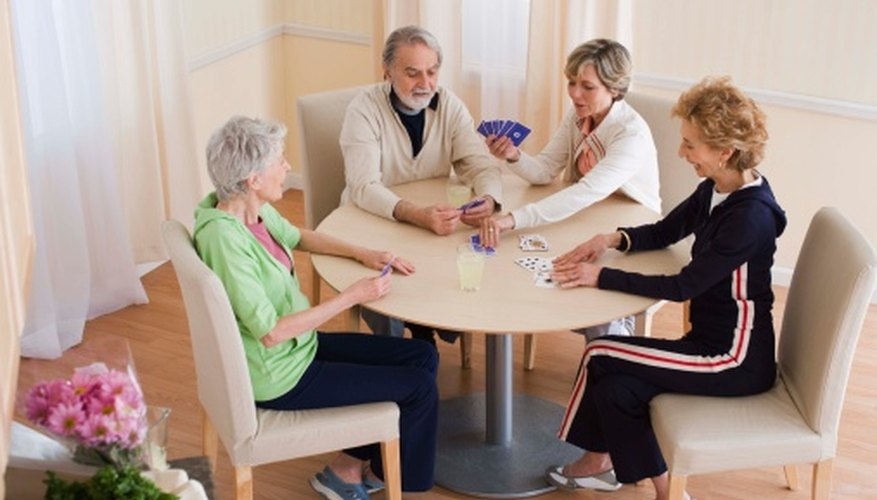 Cardplaying is an activity that seniors enjoy.