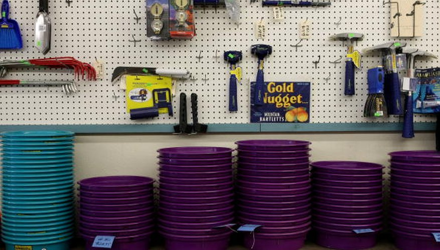 Gold panning supplies on store shelf