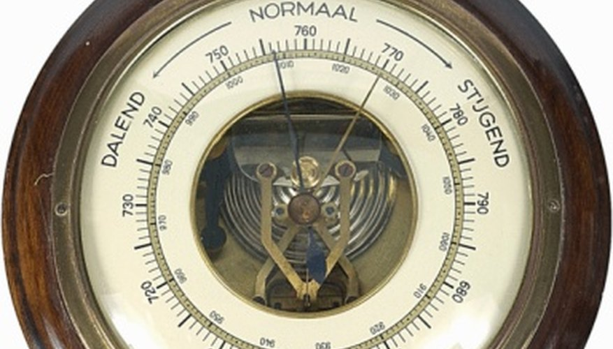 A barometer measures atmospheric pressure in a specific location.