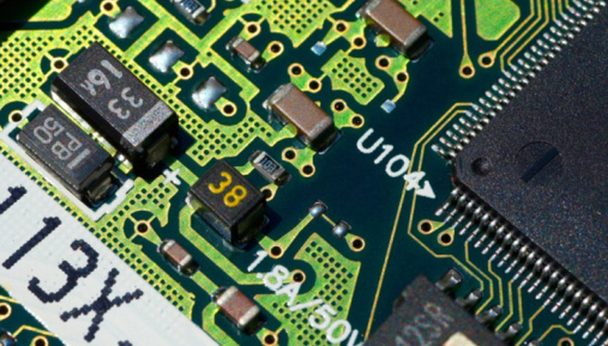 A typical circuit board contains different types of electronic components.