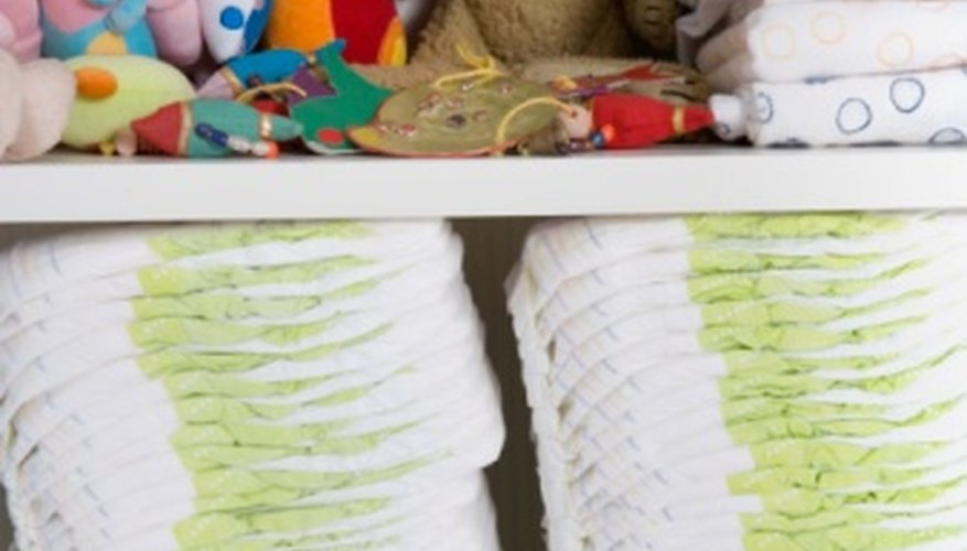 Make a diaper tower with baby diapers and toys.