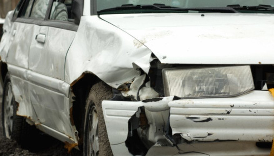 The amount of crush a car suffers in a wreck can be used to calculate its speed