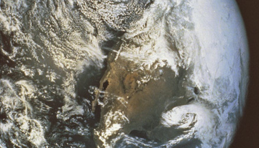 Weather patterns on Earth are visible in this image from Apollo 16.