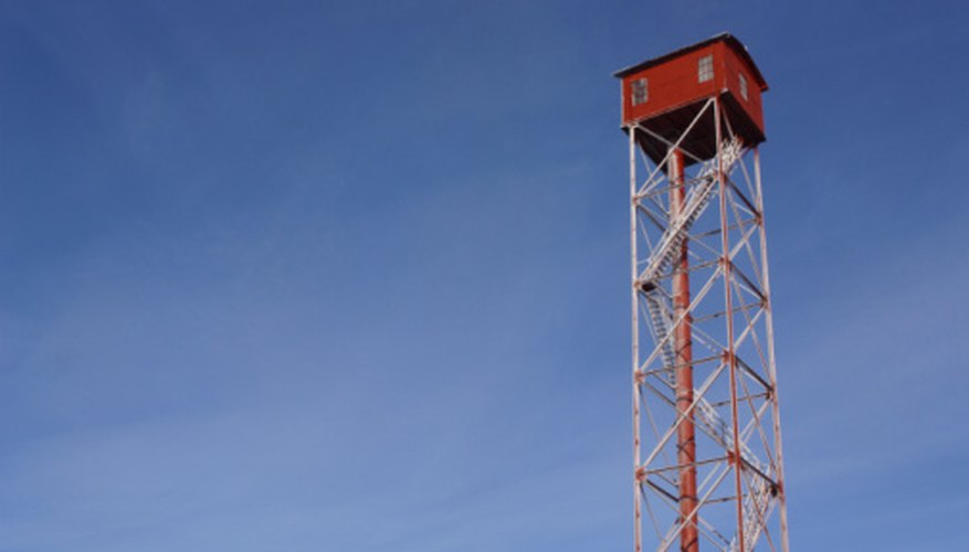 A watchtower has a high vantage point to watch for possible problems.