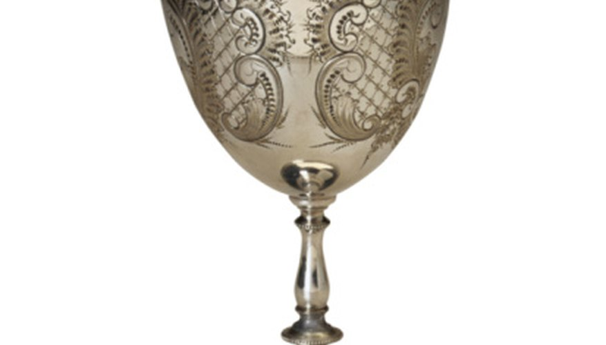 This ornate silver goblet may have been a christening or wedding gift.