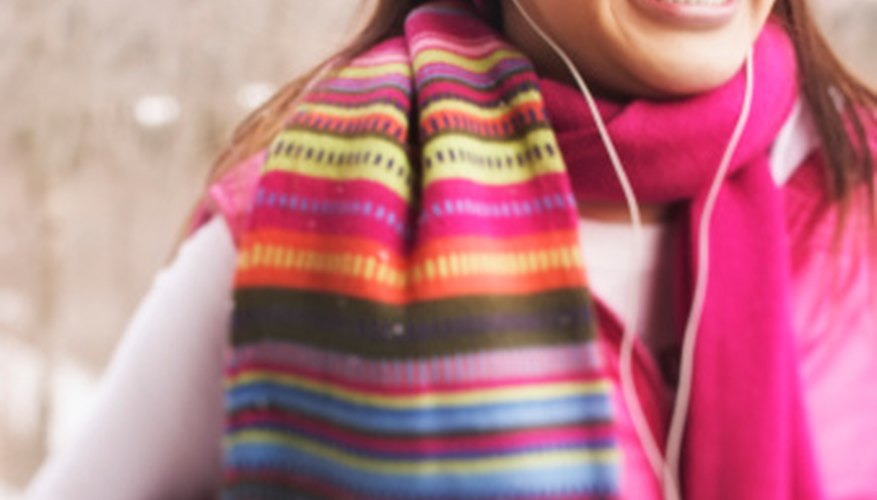 Make a curly fringe, no-sew scarf with printed fleece patterns.