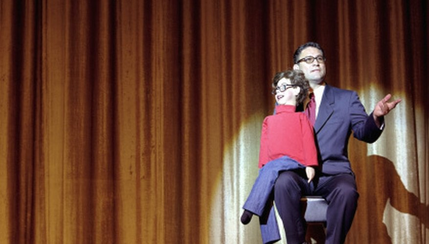 A ventriloquist act uses interaction between the human and the dummy to get laughs.