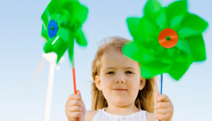 Pinwheels are an easy preschool classroom project.