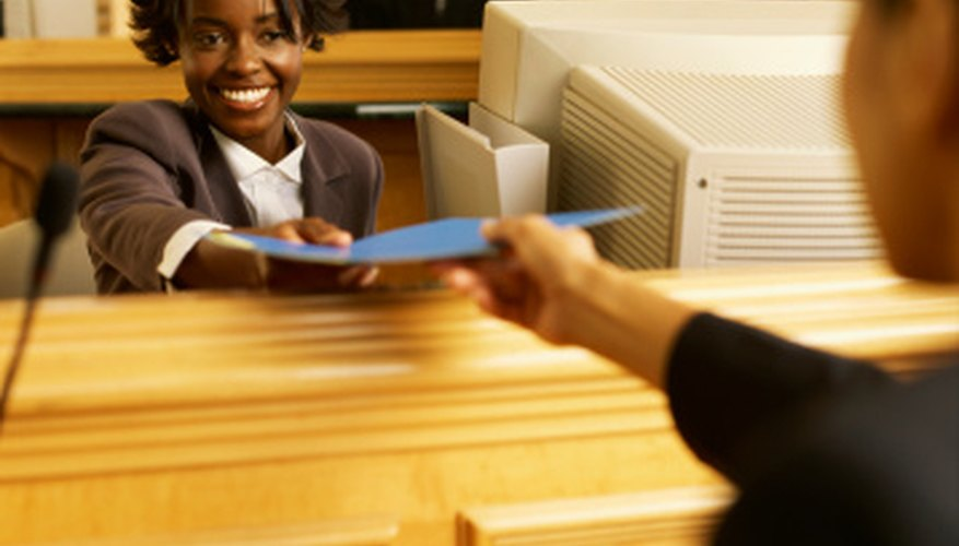 Legal document assistants research legal documents and provide general assistance in courts.