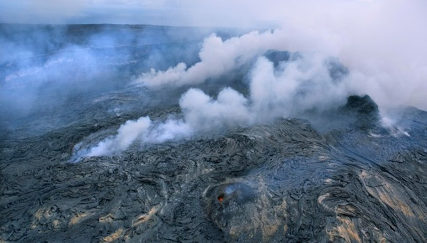 Hawaii's shield volcanoes create extensive lava beds, ultimately forming large islands.