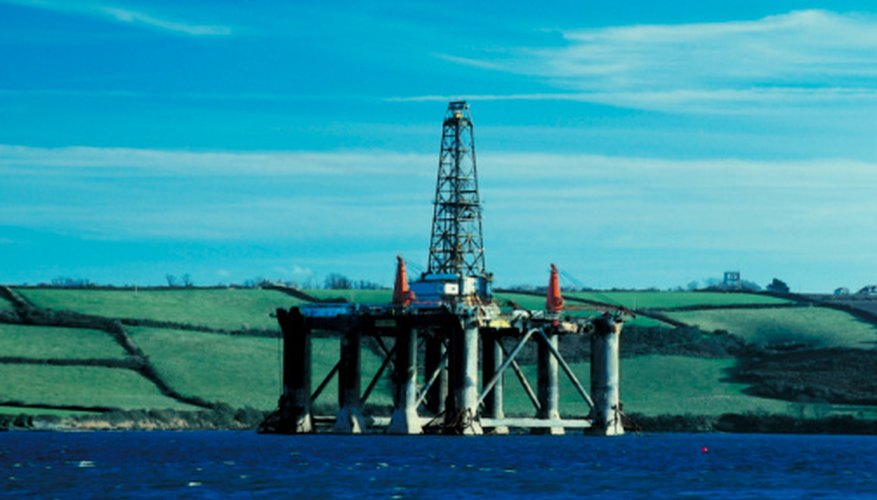 Oil rigs are found in offshore oil fields.