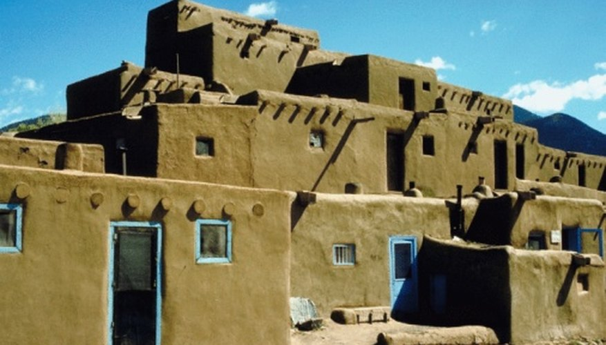 Kids can craft pseudo adobe dwellings using clay and paper.