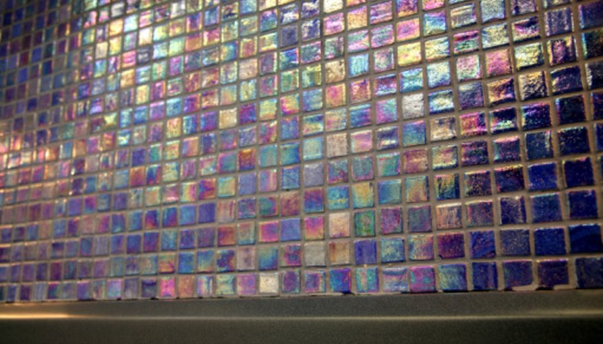 Iridescent tiles are reminiscent of carnival glass