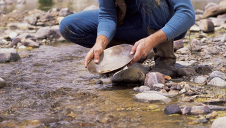 Perfecting the gold panning technique takes practice.