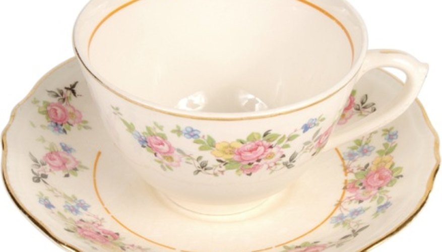 Delicate gold rims on antique cups can fade with frequent washings.