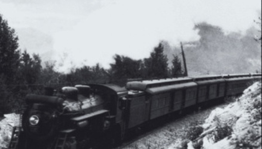 Passenger train climbing up a mountain