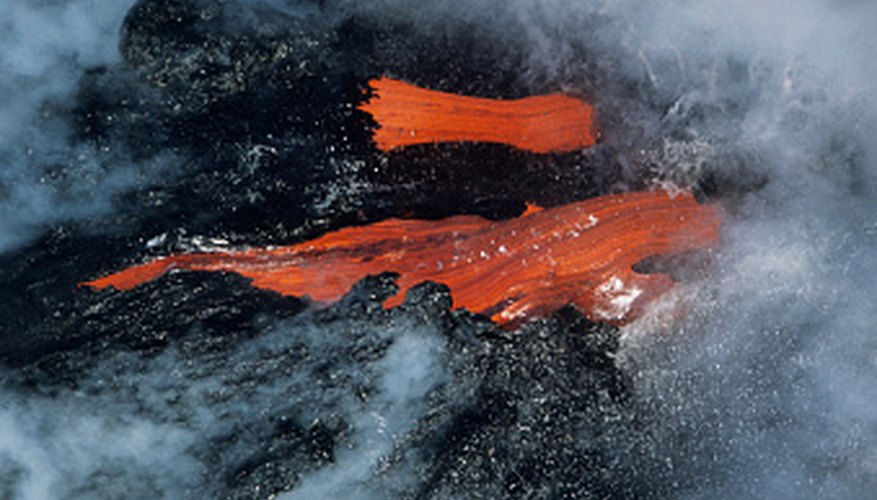 Flowing lava glows red-hot.