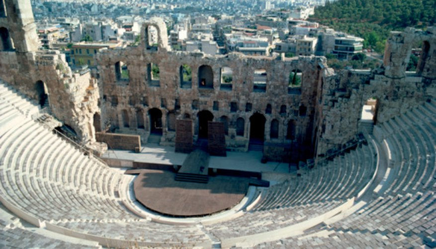 The amphitheater in Acropolis, Greece, is one example of where Greeks performed their dramas.