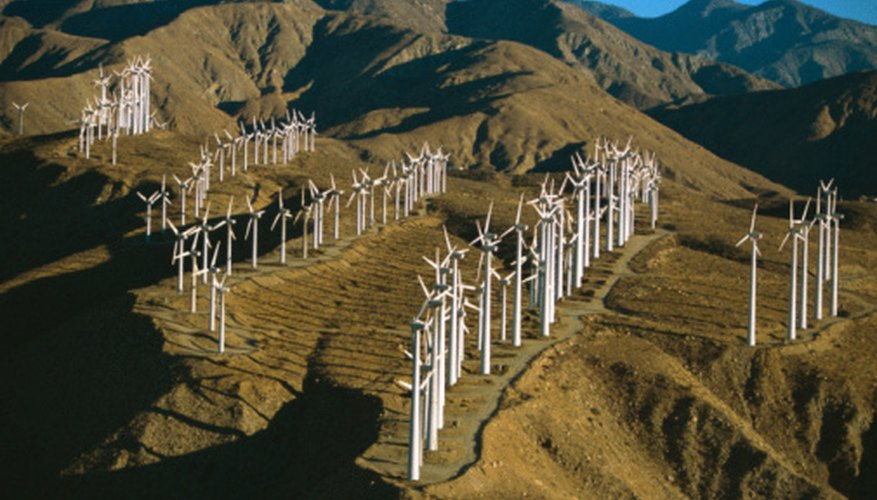 Wind farms are often situated along mountain passes.
