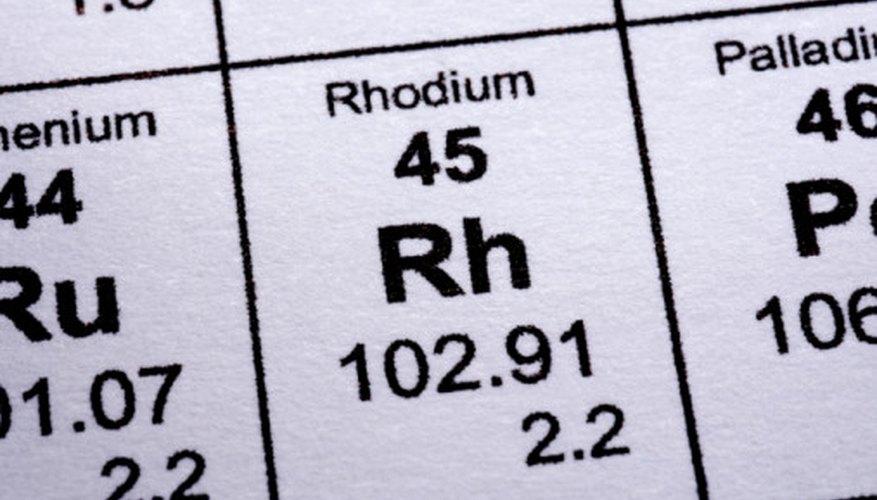 El rodio tiene el símbolo químico Rh y el número atómico 45.