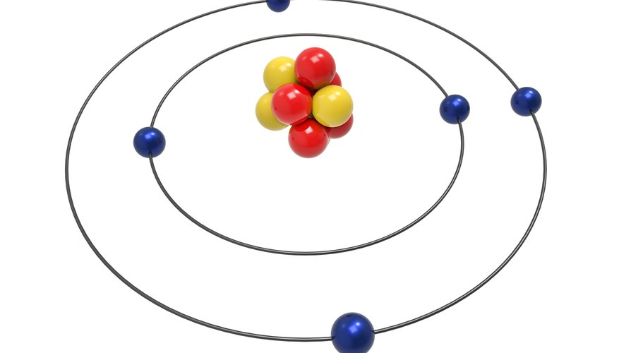 Protons and neutrons form the nucleus, or center, of the atom, while electrons circle around the nucleus