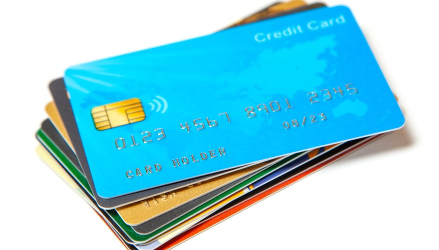 Credit card set isolated