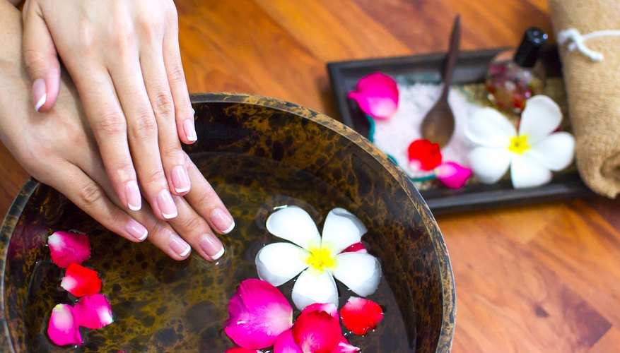 Woman at spa with well manicured nails