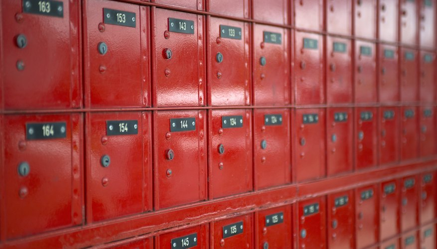 A Wall Of Red Post Office Bo