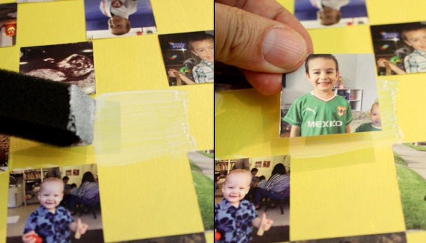 Glue down each photo