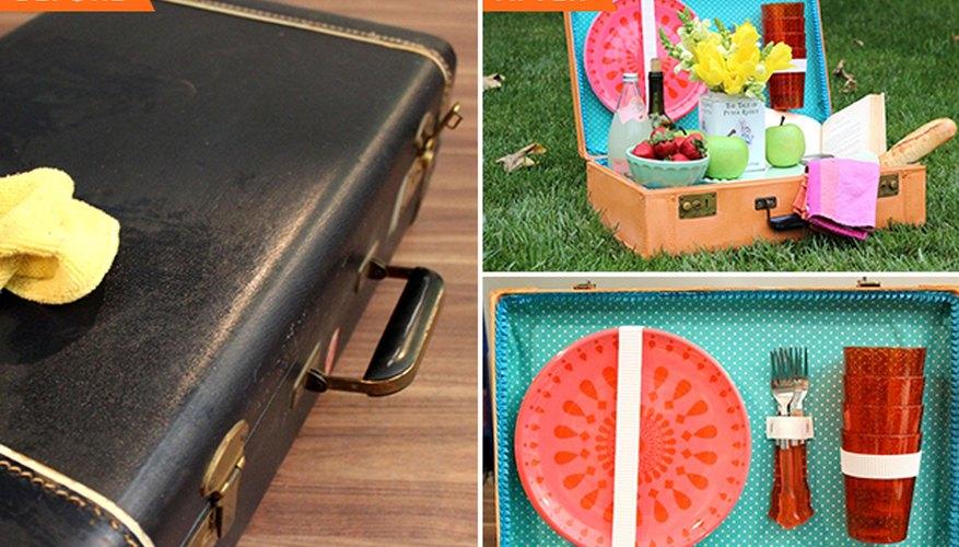 Convierte una maleta en una cesta de camping.