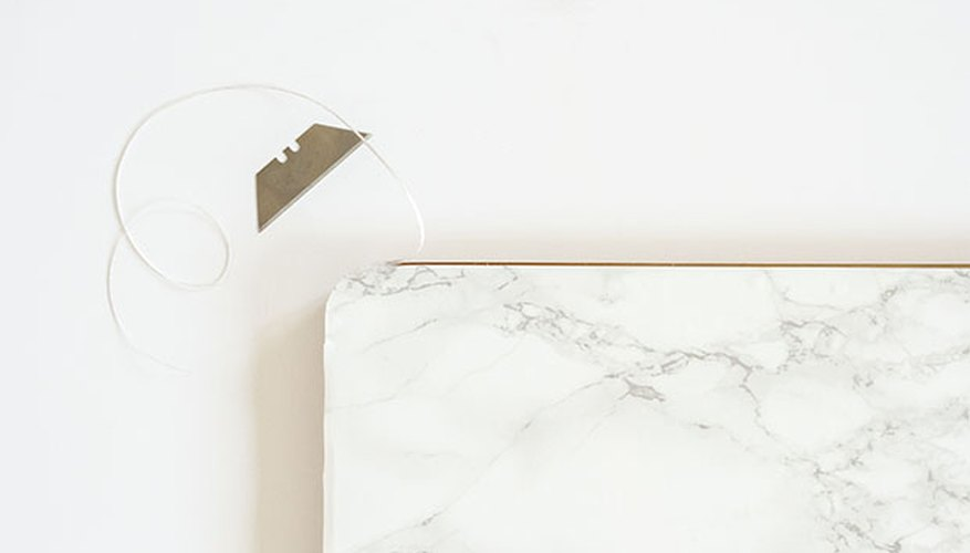Marble contact paper can be cut to size in order to fit any surface.