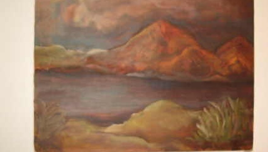 A painting done in oils using the underpainting technique; where colors are allowed to shine through.