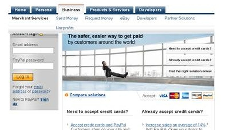 PayPal home page