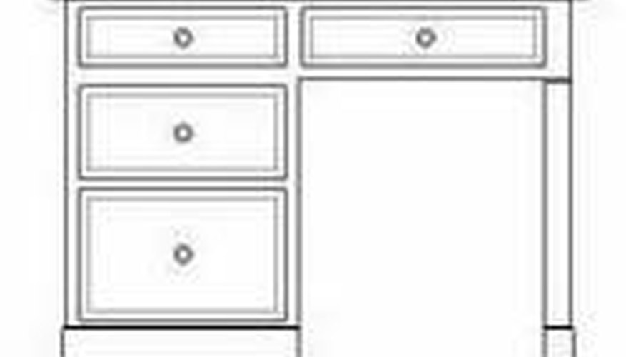A simple student desk with a