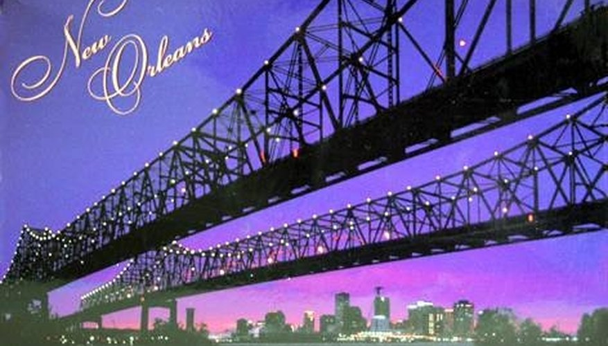 A postcard depicting the bridge connecting the east and west banks of New Orleans.