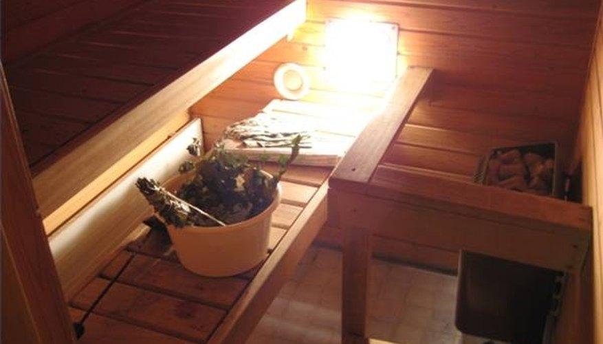 Infrared heat lamp in a dry sauna