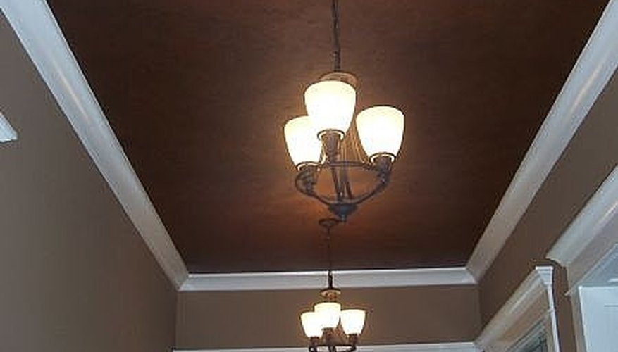 Metallic bronze faux painted ceiling