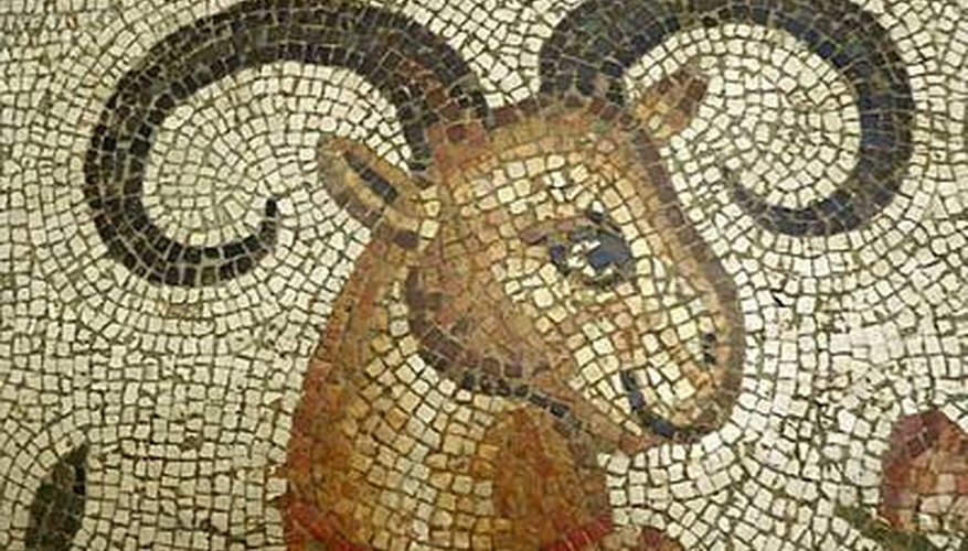 A mosaic art detail of an ibex from fifth century Turkey remains in excellent condition