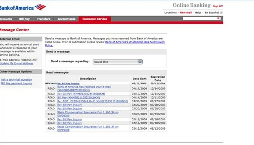Bank of America online banking inbox