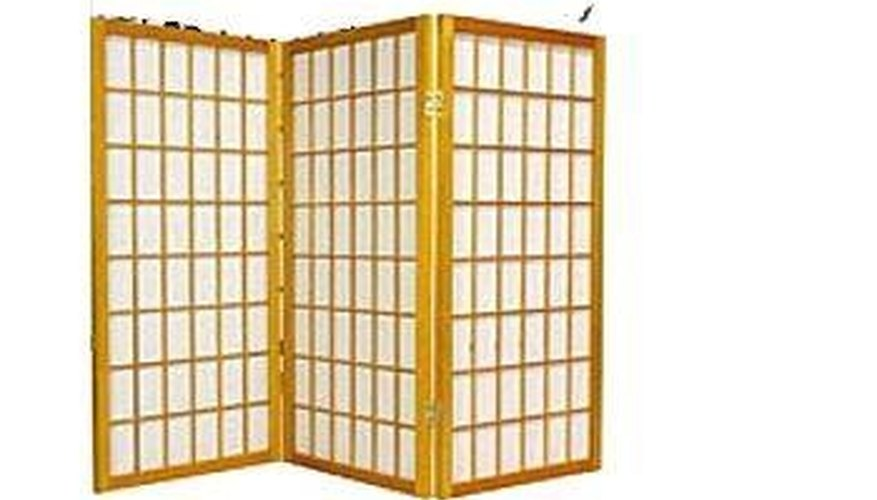 A large traditional shoji screen with three panels